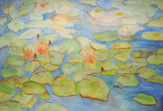 lily pads and frog painted on cold-pressed paper