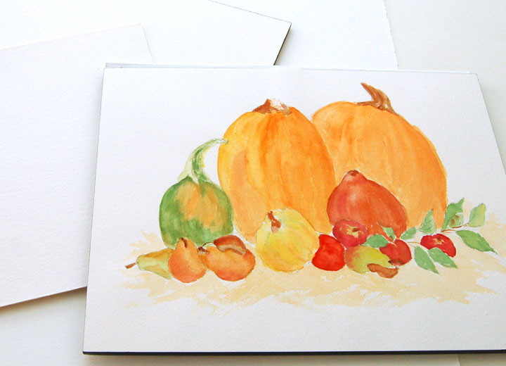 still-life watercolor painting on watercolor paper block