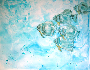five fish painted on synthetic yupo paper
